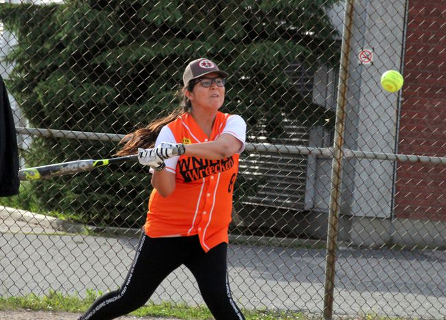 Lisa Stone and the WNHAC Wreckers were swinging .500 ball in the last week, recording a win and loss in their Kenora Women's Slopitch League games between June 29 and July 11. SHERI LAMB/Daily Miner and News/Postmedia Network
