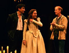 This year's Romeo and Juliet, Antoine Yared and Sara Farb, are warmly welcomed to the stage by their predecessors following Thursday's matinee performance. (Galen Simmons/The Beacon Herald)