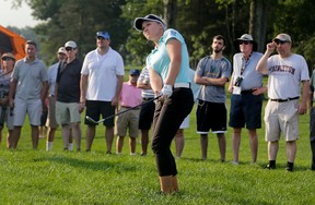 Canada's Brooke Henderson hits out of the rough onto the 11th green during the first round of the U.S. Women's Open Golf tournament Thursday, July 13, 2017, in Bedminster, N.J. (AP Photo/Seth Wenig)