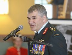 The new commandant of the Royal Military College of Canada Brig.-Gen. Sebastien Bouchard speaks at a change of command ceremony in Kingston, Ont. on Friday, July 14, 2017. Elliot Ferguson/The Whig-Standard/Postmedia Network