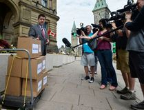 """The Canadian Taxpayers Federation's federal director, Aaron Wudrick, delivered a """"no money for Omar Khadr"""" petition, signed by 133,000 Canadians, to Parliament Hill on Thursday, July 13, 2017. (supplied photo)"""