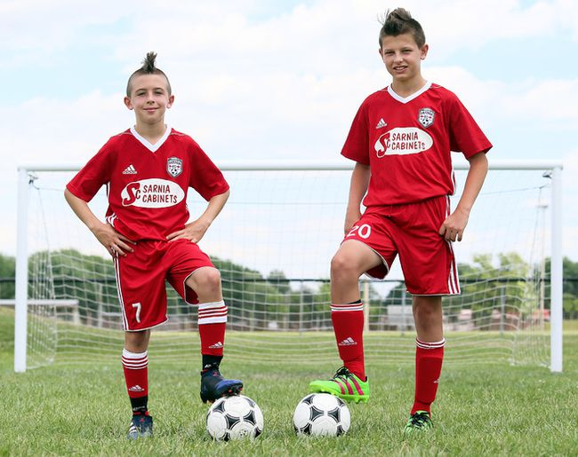 Kieran Maddock, left, and Tyler Hopwood of the Sarnia Football Club are playing in the Gothia Cup youth soccer tournament in Gothenburg, Sweden. (MARK MALONE/Postmedia Network)