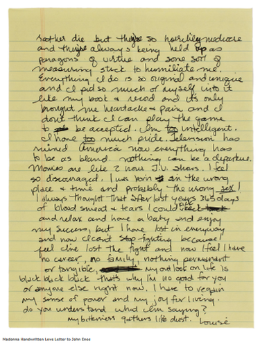 A love letter handwritten by Madonna in the 90s to John Enos will be auctioned off next week. (images from gottahaverockandroll.com)
