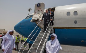 U.S. Secretary of State, Rex Tillerson, arrives to Doha, Qatar, on Thursday, July 13, 2017. The top U.S. diplomat wrapped up his first foray in shuttle diplomacy on Thursday with little sign of progress in breaking a deadlock between Qatar and four Arab neighbors that are isolating it. ( Trevor T. McBride/U.S. State Department via AP)