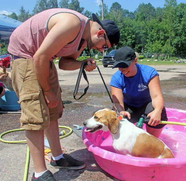 Brandon Merson gets his beagle Molly a bath as OSPCA volunteer Christina McFadden hoses her off during Saturday's annual Dog Wash and BBQ, held at the Petawawa Legion. The event raised $1,750 for the Friends for Life! Walk.