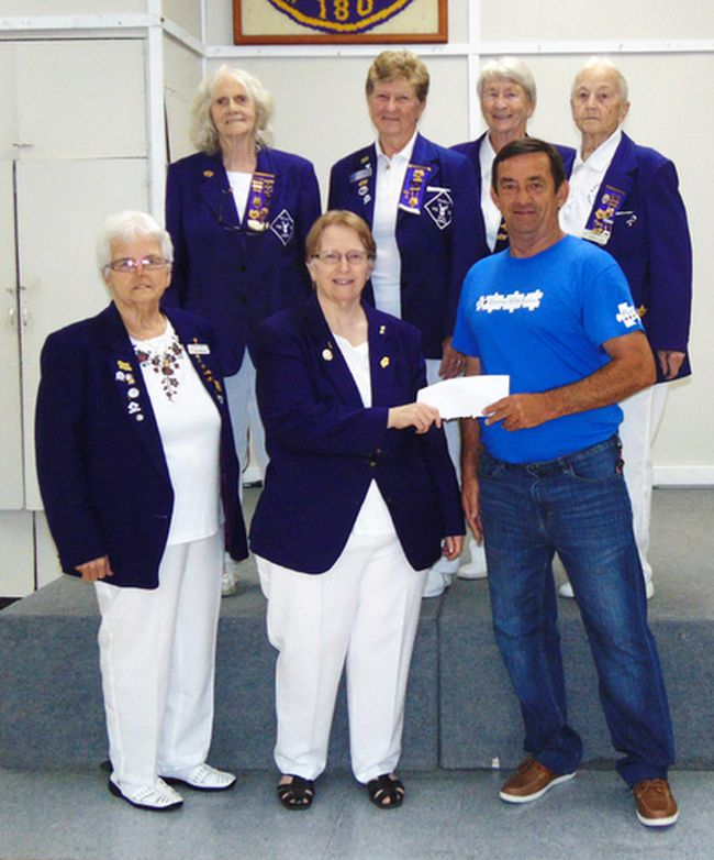 Dennis Lendrum, representing the Autism Society, received $300 from Royal Purple women Helen Noonan, Florence Delisle, Ellen Landry, Bea Lacelle, Mary Massicotte and Maureen Van Alstine.