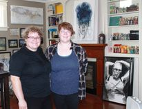 Lisa Smith and Caitlyn McMillan, owners of Sarnia's Creativity Matters, stand among some of McMillan's most recent work. CARL HNATYSHYN/SARNIA THIS WEEK