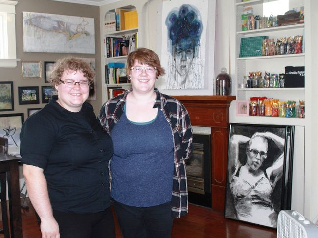 Lisa Smith and Caitlyn McMillan, owners of Sarnia's Creativity Matters, stand among some of McMillan's most recent work. 