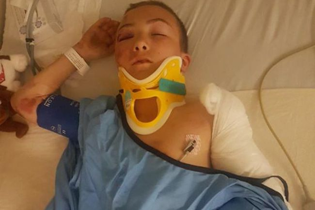 James Dubuc, 11, was hit by a car in Schumacher on July 7. His mother says he was running from another child who was wielding a knife.