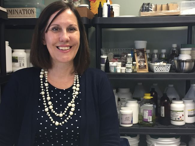 Denise Lauzon makes a product called Chemocare Balm out of the Elgin Business Resource Centre. She says the product may help some chemotherapy patients with dry and cracked skin on their hands and feet. (Laura Broadley/Times-Journal)