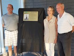 A portrait of Paris hockey player and golfer Dick Emerson was hung on the Wall of Recognition in an induction ceremony on July 6 at the Brant Sports Complex. Present for the ceremony were his children, John Emerson (left), Jean Wilkins and Paul Emerson. (Submitted Photo)