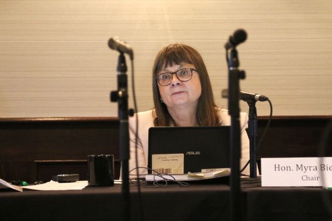 Commission chair Justice Myra Bielby listens to a presenter during a public hearing on the Electoral Boundary Commission's proposed changes, at the Sandman Hotel on Monday July 17, 2017 in Grande Prairie, Alta. Kevin Hampson/Grande Prairie Daily Herald-Tribune/Postmedia Network