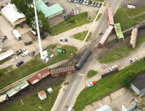 Train derailed in Strathroy west of London, Ont. on Wednesday July 19, 2017. (MIKE HENSEN, The London Free Press)