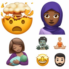 A few of the new emojis set to be available on Apple products this fall. (Apple)