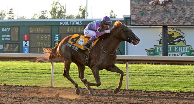 Jockey Luis Contreras rides 6-to-5 favourite Amis Gizmo to a victory by 5 1/2 lengths at the Prince of Wales Stakes in this July 2016 file photo. The signature race at Fort Erie Race Track takes place next Tuesday evening.