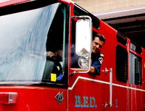 Acting Brockville fire captain Scott Smith sits at the wheel of a 1997 pumper the city's fire department is donating to St. Lawrence College's pre-service firefighting program, on Wednesday. (RONALD ZAJAC/The Recorder and Times)