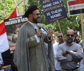 Maulana Syed Mohammad Zaki Baqri of the Pickering-based Council of Islamic Guidance and the corresponding Al Mahdi Centre allegedly told the June 24 Al Quds Day rally in a combination of English and Arabic that Jews and Israelis need to be eliminated for what they've apparently done to the people of Gaza.