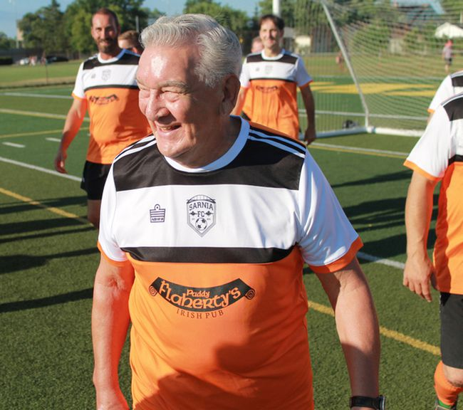 After 74 years of playing the football (soccer), Sarnia FC's Barry Goodwin played his final game at Norm Perry Park on Thursday, July 20. Goodwin is 80. (Carl Hnatyshyn/Postmedia Network)