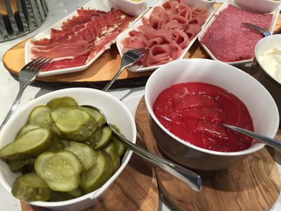 During a Rhine Getaway with Viking Cruises, the culinary staff whipped up a special German buffet, which included an array of dishes, including cold cuts and pickles. (ROBIN ROBINSON/TORONTO SUN)