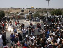 Violence erupted in Jerusalem on July 21, 2017 as Palestinians protest against metal detectors installed at the Temple Mount following a deadly terror attack. AHMAD GHARABLI/AFP/Getty Images