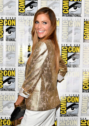 """Actor Tricia Helfer at the """"Battlestar Galactica"""" Reunion press line during Comic-Con International 2017 at Hilton Bayfront on July 20, 2017 in San Diego, California.  (Photo by Dia Dipasupil/Getty Images)"""