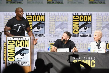 "Left to right: Moderator Terry Crews, director David Ayer and actor Noomi Rapace speak onstage at Netflix Films: ""Bright"" and ""Death Note"" panel during Comic-Con International 2017 at San Diego Convention Center on July 20, 2017 in San Diego, California.  (Photo by Kevin Winter/Getty Images)"