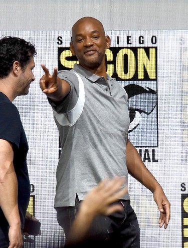 "Actor Will Smith walks offstage at Netflix Films: ""Bright"" and ""Death Note"" panel during Comic-Con International 2017 at San Diego Convention Center on July 20, 2017 in San Diego, California.  (Photo by Kevin Winter/Getty Images)"