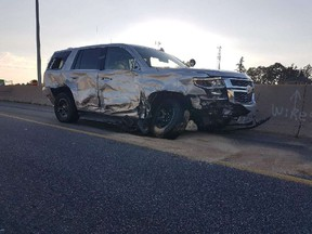 A Hanover couple face charges for allegedly ramming an OPP vehicle while hauling a stolen boat along Hwy. 401 in Cambridge on July 5, 2017. (photo posted by OPP on Twitter)