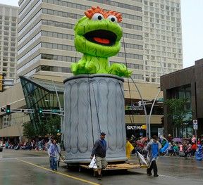Oscar the Grouch float at the 2017 K-Days parade in downtown Edmonton on Friday July 21, 2017. (PHOTO BY LARRY WONG/POSTMEDIA)