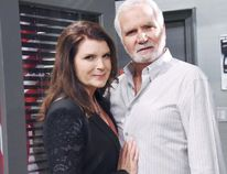 The soap opera world's best baddie, Kimberlin Brown of Bold and the Beautiful with co-star John McCook. BOLD AND THE BEAUTIFUL