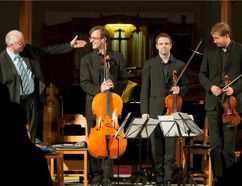 Submitted photo Stephane Lemelin introduces members of the New Orford String Quartet at the close of a performance with him at a Prince Edward County Music Festival concert in 2012.