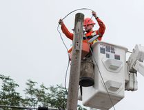 Taylor Bertelink/The Intelligencer Tal Trees Power Services employee Colin Mercier changes the street lights to more efficient LED bulbs along North Front St. on Monday morning.