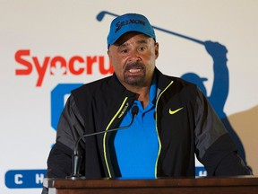Grant Fuhr talks about the upcoming Oil Country Championship at the Windermere Golf & Country Club, on Monday July 24, 2017. Greg  Southam / Postmedia