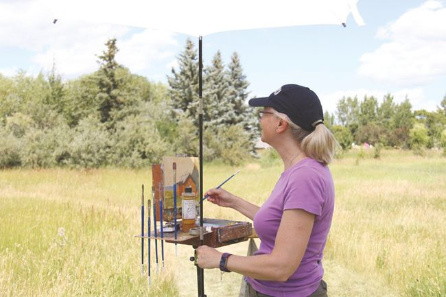 The Coutts Centre Arts Festival returned to the Coutts Centre. Over 400 people made their way down on Sunday, July 23 to either participate or show their artistic ability. Here, Cheryl Peddie of Calgary paints during the festival.