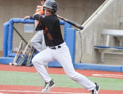 Max Hewitt became the first member of the Giants to record at least 50 hits in a single season, reaching the target Saturday in a 12-2 win against Melville. Robert Murray/Fort McMurray Today/Postmedia Network
