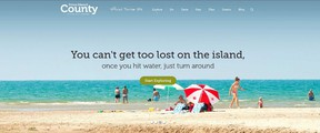 SUBMITTED PHOTO Pictured is the home page from Prince Edward County's new tourism website - VisitPEC.ca
