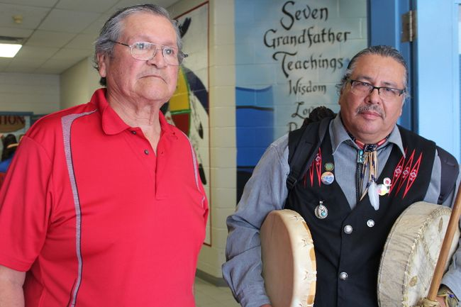 Delbert Riley (left), a long-time First Nations leader and activist from the Chippewas of the Thames, and Chief Myeengun Henry leave the Chippewas of the Thames community centre to go to a demonstration at the Thames River in reaction to the Supreme Court of Canada's decision to allow Enbridge Line 9 to reverse its oil flow. (CHARLIE PINKERTON, The London Free Press)