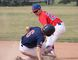 Camrose Peewee AAA Cougar Dylan Soch goes for the tag on a Fort McMurray Oil Giants base runner at Duggan Park in Camrose on July 23. Camrose won 9-8. Ryan Stelter/ Camrose Canadian