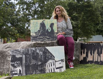 Dara Vucetic shows some of her artwork which will be included in the Art in the Park show on Saturday, Aug. 5, at Lynden Hills Park on Brantwood Park Road in Brantford. (Brian Thompson/The Expositor)