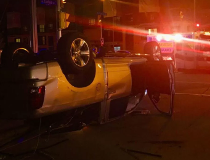 One vehicle flipped over in a collision