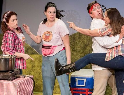 From left, Danielle Nicole, Franny McCabe-Bennett, Jeffrey Wetsch and Jane Spence star in Five Alarm at Port Stanley Festival Theatre. (Mark Girdauskas/Special to Postmedia News)