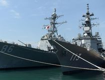 U.S. and Japanese navy ships docked at a harbour during the inauguration of joint naval exercises with India in Chennai on July 10, 2017. India began holding naval exercises with the United States and Japan off its south coast on July 10, seeking to forge closer military ties to counter growing Chinese influence in the region. (ARUN SANKAR/AFP/Getty Images)