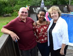 Michael Dunn and Jane Abraham-Dunn with Joyeuse Umutoni Mirasano of Rwanda, who stayed with them during her first semester at Georgian College's Owen Sound campus through the Canada Homestay Network. (Rob Gowan The Sun Times)