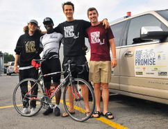 The Ride for Promise team, from left, Jarrett Murray of Cornwall, Curtis Carmichael of Toronto, Norwood's Cameron Pedersen and Addisiane Freeland of Havelock made a stop in Simcoe on Friday morning. Carmichael is cycling across Canada to raise funds for Urban Promise Toronto. (JACOB ROBINSON/SIMCOE REFOMRER)