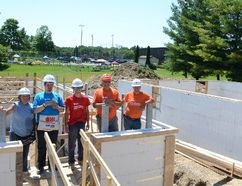 Those on site at the Habitat for Humanity Grey Bruce build on 26th St. W. on Saturday include, from left, Mona Stephens of Owen Sound, Eric MacDonald of Guelph, summer student Tanner Prior of Georgian Bluffs, Gary Varsava of Port Elgin and construction manager Al MacDonald. (Rob Gowan The Sun Times)