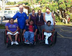 Pictured at Hogar del Nino in El Salvador are, back row, from left, Gordon Pettit, Lydia Foch, Jackie Herrera, and Evelyn Cortez. Front row, from left, Maritza Bautista, Ivan Guzman and Carlos Gonzalez. Pettit and Foch are working to bring the others to Canada for a visit. (Supplied photo)