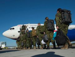 Soldiers from the 3rd Canadian Division in Edmonton depart for a six month deployment to Ukraine on Aug. 3, 2016. (Shaughn Butts/Postmedia Network/Files)