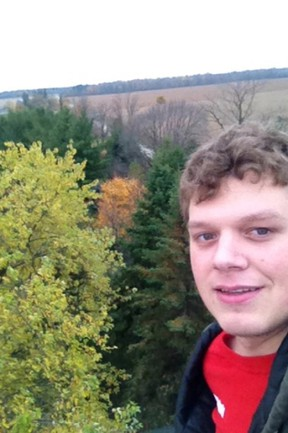 Eli Rapien took this selfie on the roof of a former church on a 10-acre property he and his parents purchased in Russeldale four years ago. The 21-year-old loved nature and history and enjoyed spending time at this location. SUBMITTED