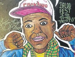 Alex Leonard's painting of Montreal-based DJ Lunice, done in acrylic, paint marker and sharpie, is one of his larger pieces, featuring a quote from one of Leonard's interviews with Lunice and the DJ's signature.