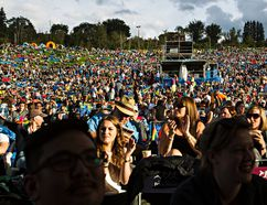 FILE PHOTO - People listen to performers at the Edmonton Folk Music Festival at Gallagher Park in 2015.